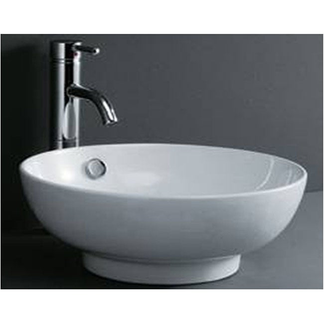 Round Porcelain White Bathroom Vessel Sink
