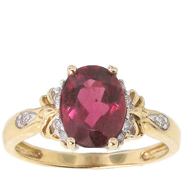 Michael Valitutti 14k Yellow Gold Rubellite Diamond Ring