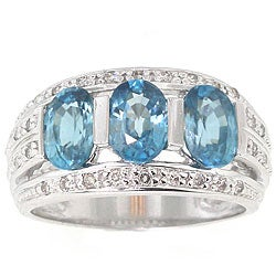 Michael Valitutti 14k Gold 1/5ct TDW Diamond Blue Zircon Ring