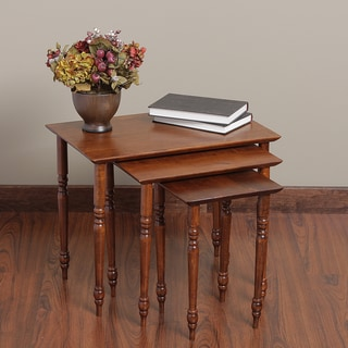 Set of 3 Rubberwood Nesting Tables (Malaysia)