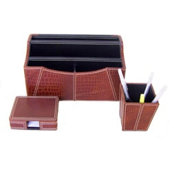 Handcrafted 3-piece Desk Organizer (India)
