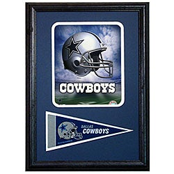 Dallas Cowboys Logo 12x18 Custom Framed Print with Pennant
