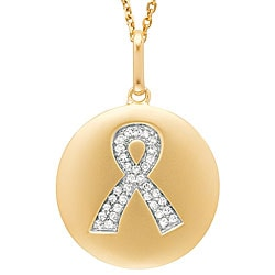 14k Gold 1/10ct TDW Pave-set Diamond Breast Cancer Awareness Ribbon Necklace