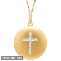 14k Gold 1/10ct TDW Diamond Cross Disc Necklace