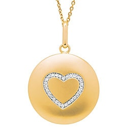 14k Yellow Gold 1/10ct TDW Diamond Heart Necklace