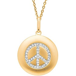 14k Gold 1/6ct TDW Diamond Peace Sign Necklace