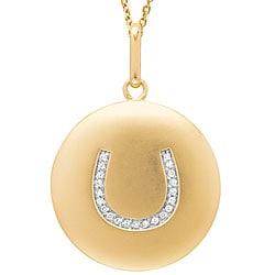 14k Yellow Gold 1/10ct TDW Diamond Horseshoe Necklace (G-H, I1)