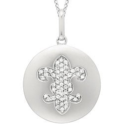 14k White Gold 1/6ct TDW Diamond Fleur de Lis Necklace
