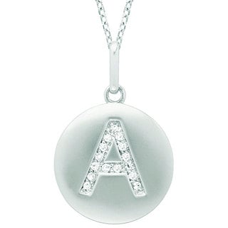 14k White Gold Diamond Initial Monogram Disc Necklace