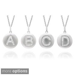 14k White Gold Diamond Initial Monogram Disc Necklace