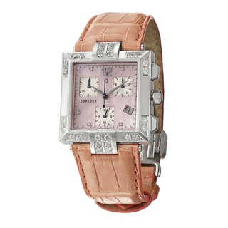 Concord La Scala Steel Women's Quartz Watch with Leather Strap