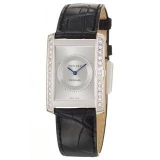 Concord Delirium Men's 18k White Gold Quartz Watch with Black Alligator Strap
