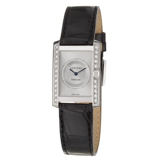 Concord Delirium Women's 18k White Gold Leather Quartz Watch