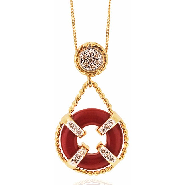 Michael Valitutti 14k Gold Coral/ 1/5ct TDW Diamond Necklace