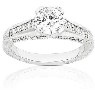 Annello 14k Gold 1 1/3ct TDW Round Diamond Engagement Ring (G-H, SI)