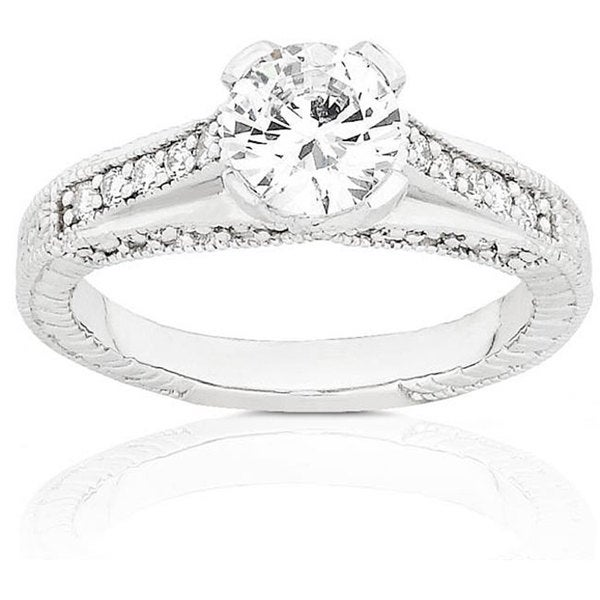 Annello 14k Gold 1 1/3ct TDW Round Diamond Engagement Ring (G-H, SI)