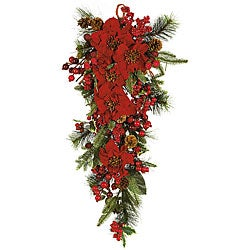 Poinsettia Teardrop Silk Flower Arrangement