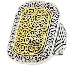 Two-tone Rhodium-plated Rectangular Filigree Ring
