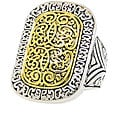 Two-tone Rhodium-plated Rectangular Filigree Ring