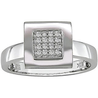 Miadora 10k White Gold 1/10ct TDW Square Diamond Ring