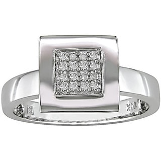 Miadora 10-karat White-gold Band 1/10-carat TDW Diamond Ring