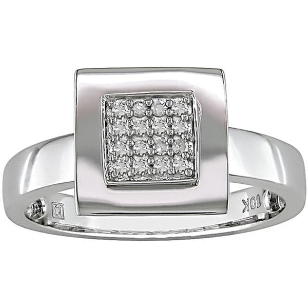 Haylee Jewels 10k White Gold 1/10ct TDW Square Diamond Ring