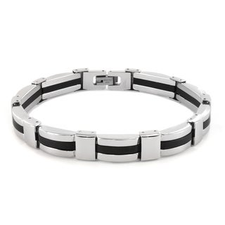 Crucible Stainless Steel Men's Rubber Link Bracelet