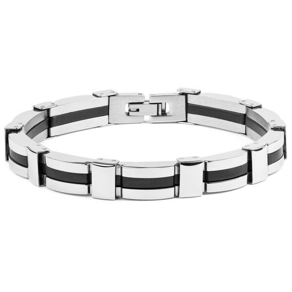 Crucible Stainless Steel Men's Rubber Link Bracelet