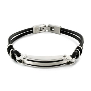 Stainless Steel and Black Rubber Men's ID Bracelet