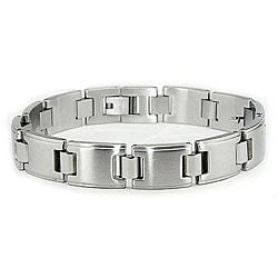 Stainless Steel Men's Dual-finish Link Bracelet