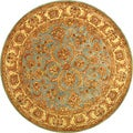 Safavieh Handmade Heritage Kermansha Blue/ Beige Wool Rug (8' Round)