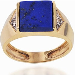 Michael Valitutti 10k Gold Lapis and Diamond Ring (size 10)