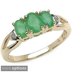 Malaika 10k Gold Oval Gemstone and Diamond Ring