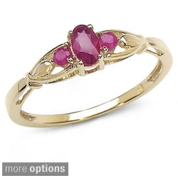 Malaika 10k Gold and 3-stone Gemstone Ring