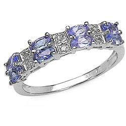 Malaika 10k White Gold Genuine Tanzanite and Diamond Ring