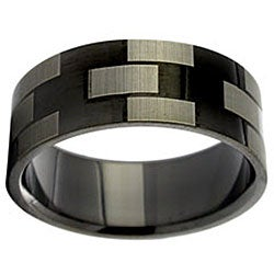 Black Stainless Steel Geometric Design Ring