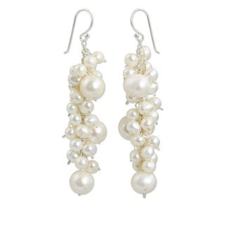 Full Moon Cascading Round White Freshwater Pearls 925 Sterling Silver Hooks Bridal Womens Long Dangl - Pearl