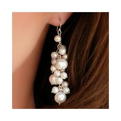 Sterling Silver 'Full Moon' Pearl Cluster Earrings (Thailand)