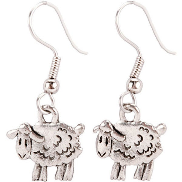 Charming Accents French Wire Steel Sheep Earrings with Hooked Backs