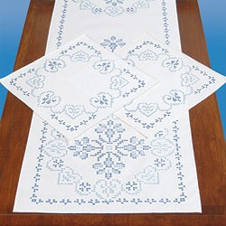 Stamped 3-piece Dresser Scarf and Doily Kit