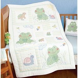 Stamped White Frog Crib Quilt Cover (40 inches x 60 inches)
