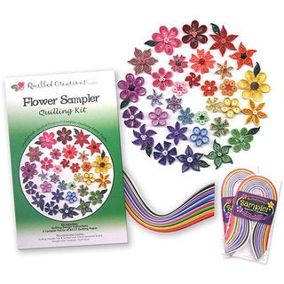 Quilled Creations Flower Sampler Quilling Kit with Designs and Paper