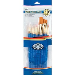 Gold Taklon Beveled-handle Acrylic Paint Brush Set (Set of 10)