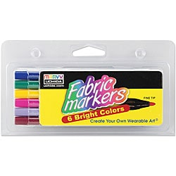 Bright Fabric Fine Tip Markers (Pack of 6)