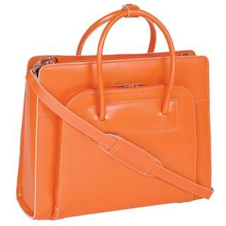 McKlein Women's Orange Lake Forest Italian Leather Laptop Tote Bag