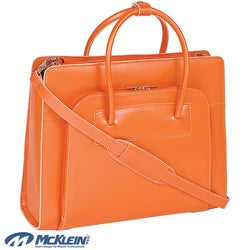 McKlein Women's Orange Lake Forest Italian Leather Laptop Tote Bag