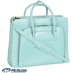 McKlein Women's Blue Lake Forest Italian Leather Laptop Case