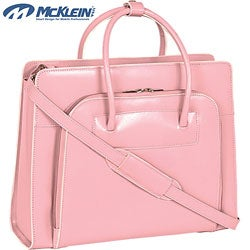McKlein Women's Pink Lake Forest Italian Leather Laptop Tote Bag