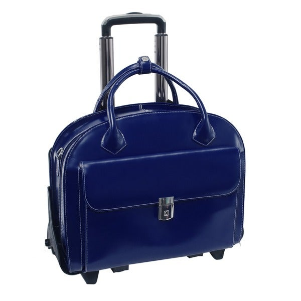 McKlein Navy Glen Ellyn Leather Detachable-Wheeled Laptop Case