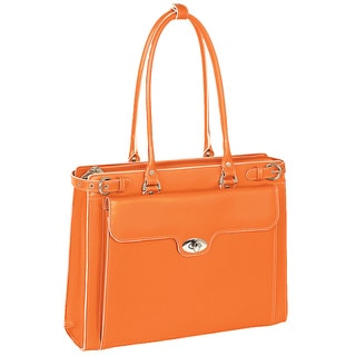 McKlein Women's Orange Winnetka Italian Leather Laptop Briefcase
